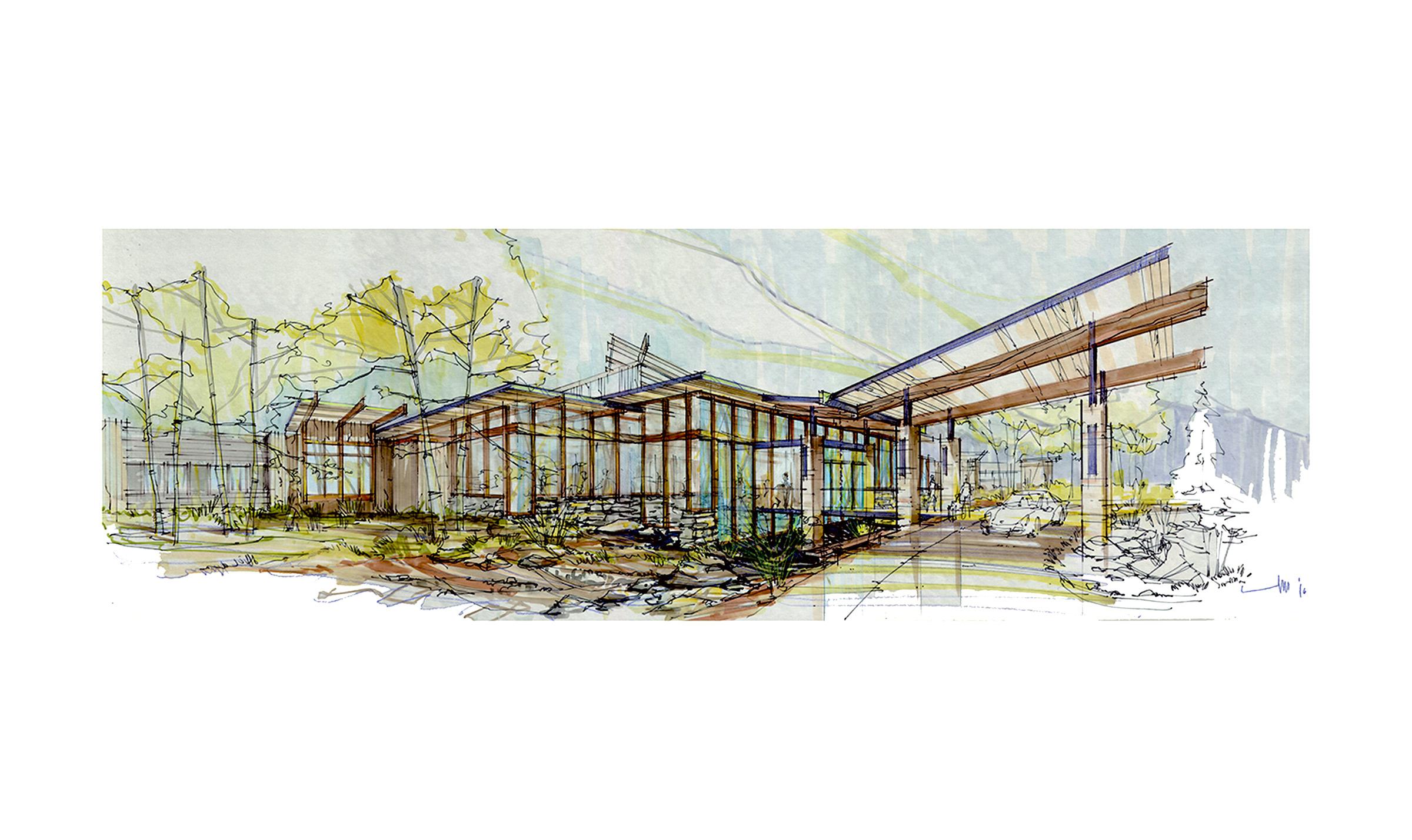 Exterior-1 Sketch TSA Architects
