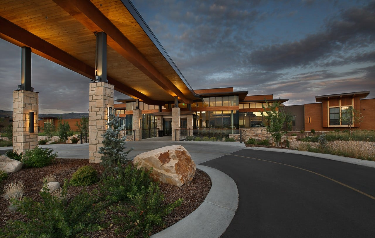 An exterior shot of RMC Heber's The Lodge - Utah Skilled Nursing Architecture